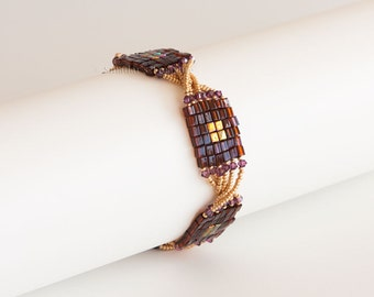 Beaded Bracelet with Dark Amber and Gold Iris Squares, Swarovski Crystals in Amethyst Purple and Gold Twisted Seed Beads.  Square Clasp S224