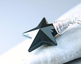 Swarovski Necklace Crystal Jewelry Black Star Necklace Gift For Her Swarovski Jewelry Crystal Pendant Shooting Star Pendant Customized
