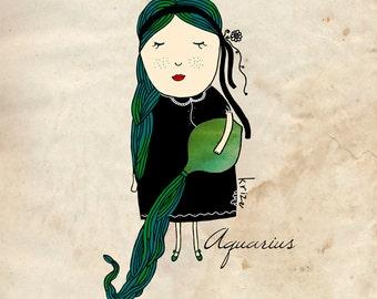 Aquarius Art, Zodiac Artwork, Astrological Art, Birth Sign, Nursery Room Decor