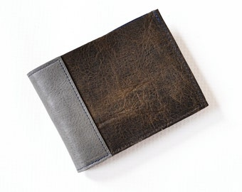 Leather Mens Wallet / Boyfriend Gift / Mens Gift / Slim Leather Wallet / Minimalist Wallet - The Frankie Wallet in Brown and Granite Grey