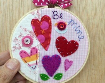 """Be Mine Handmade Patchwork Valentine Art in a 4"""" Embroidery Hoop Frame by Val's Art Studio"""