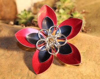 Faerie Flower Kilt Pin - Black on Red