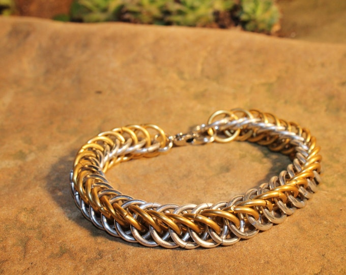 Gold-colored and Aluminum Half Persian Chainmaille bracelet
