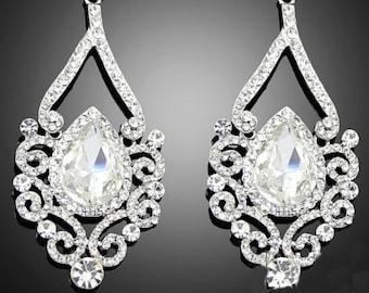 Long Ornate Clear Rhinestone Chandelier Earring Findings Pair of Bridal Silver Teardrop Filigree Wedding Jewelry Supply  LG6-8 2