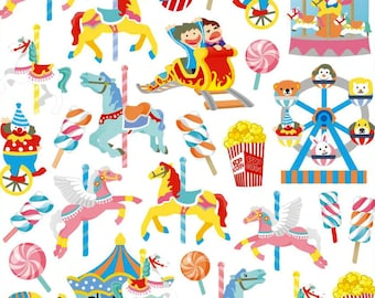 Carousels Sticker • Fun Fair • Theme Park • Carousel Sticker • Circus Birthday • Popcorn • Clown • Roller Coaster (SK4283)