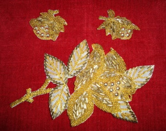 50's Gold Beaded Sew On Appliques