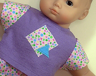 Bitty or Twin Doll Clothes - Multi-colored shapes Purple Pajamas with Shapes Applique