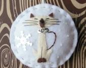 Groovy Siamese Kitty Cat - Felt Christmas Ornament