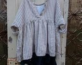 Striped Linen Prairie Shirt Oversized to Fit Most Made to Order