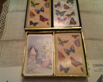 Vintage Congress Double Playing Card Set Butterflies and Cottages