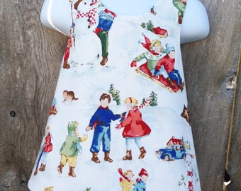 Pinafore Size 18M --- Dick and Jane's December Pinafore (((ready to ship)))