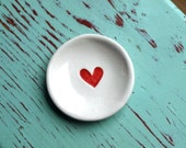 Red Heart on Mini Round Dish, Ring Dish with Red Heart Design,