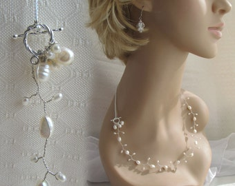 Mermaid Bride Floating Pearl Wedding Silver Toggle Necklace