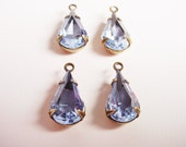 Vintage Light blue Sapphire Glass Pear 13x8 in Antique Brass Settings 1 Ring Open Backs Drops Dangles Charms Earring Drops - 4 Pieces