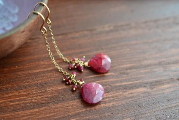 14kt Gold Ruby Earrings - Ruby Cluster Earrings - 14kt Gold Earrings - Long Romantic Earrings - Red Pink Gemstone Earrings