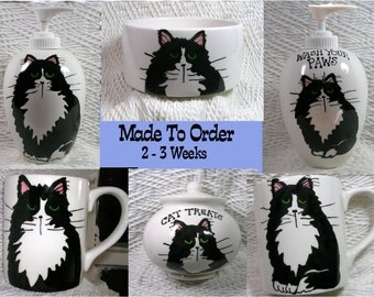 Tuxedo Cat Design Your Choice Made To Order Handmade Ceramic by Grace M Smith