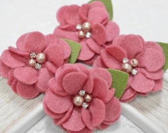 New! 4pcs Handmade soft felt flowers--rose pink (FT1031)