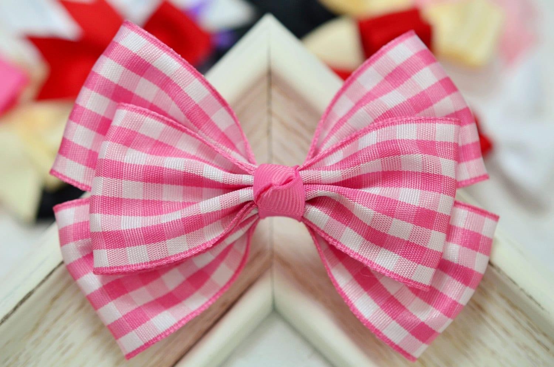NEW! Set of 2pcs handmade Polyester Check Ribbon Bows ...