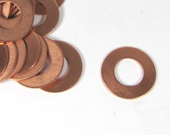 copper washers, 18 gauge 1 inch with 1/4 rim, 12 pack, thick heavy copper washer, rose metal