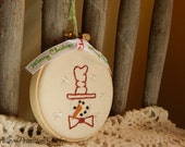 Hand Stitched Christmas Tree Ornament, Snowman, Merry Christmas Ribbon, BICOFG