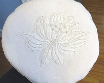 "White Bucharian kippah with gorgeous lace lotus flower plus pearls hat style yarmulke 22"" woman's yarmulke"