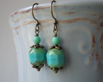 Mint earrings unique handmade glass jewelry beaded blue green drop earrings seafoam beaded sea foam dangle earrings for mother day bronze
