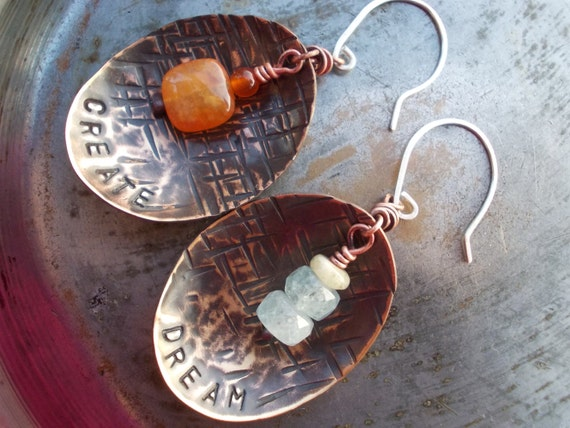 Dream and Create earrings, sterling silver, natural aquamarine, red carnelian gemstones forged hammered stamped brass bronze copper spoon