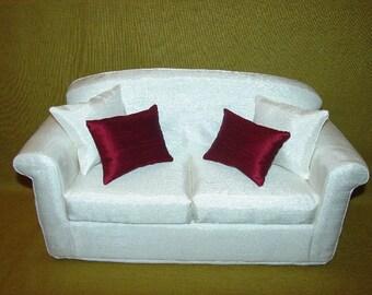 16 Inch Fashion  Doll Sofa - Silky - Off white - Cream - Roll  Arm - Handmade