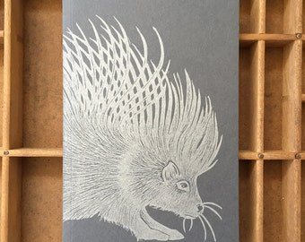 letterpress porcupine notebook