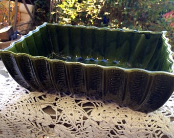 Vintage Green California Pottery Console Bowl