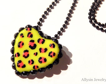 Leopard Print Necklace, Neon Green, Resin Heart, Cheetah Print, Kawaii Rave