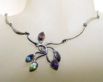 Vintage Art Nouveau Gemstone Necklace - Sale -Garnet - Peridot - Amethyst - Topaz - Sterling  - Handmade Silver Flower Necklace - Quality