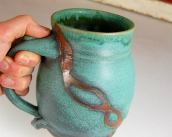 Monster Mug in Turquoise with Rust Chain- Made to Order