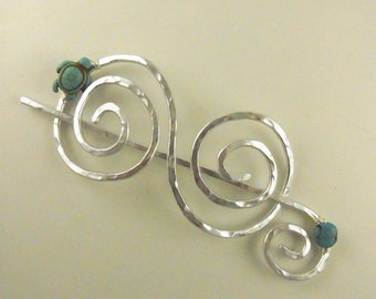 Silver Hair Slide/Stick Large Double Spiral with Turtle and Turquoise