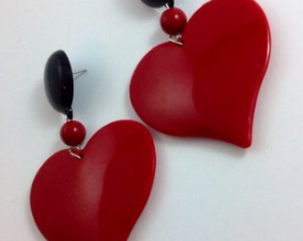 HEART  red black drop bead 90s 80s chunky dangling love lovers post stud oversized earring large big diva glam basketball wives enlarged