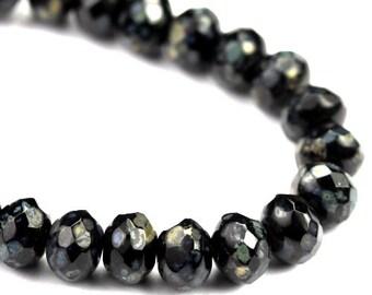 Czech Glass Beads Fire Polished Gemstone Donuts 5x7mm Jet Black Picasso (12) CZF744