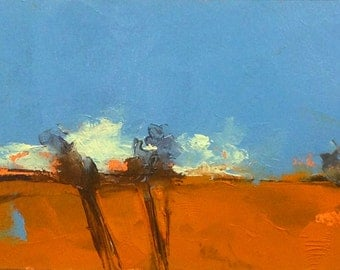 INTO IT, oil painting original landscape 100% charity donation, 5x7 oil painting on paper, field