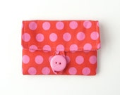 red credit card case. pink polka dot fabric women card holder. pink business card holder. small gift