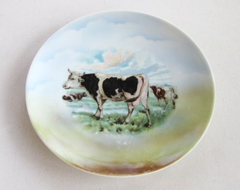Antique Cow Plate China Transfer Farm Landscape