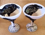 Raven Goblet Single or Set, Glazed Ceramic Cocktail Goblets in Black & White