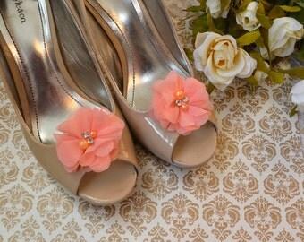 Flower Shoe Clips, Coral Flower shoe clips, shoe clips, wedding shoe clips, rhinestone shoe clips, pearl