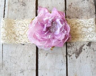 Lavender Lilac Peony Flower Lace Headband, Toddler Lace headband, Girls, Adult , headband, Flower girl headband, Wedding headpiece