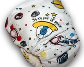 Out of this World  - M/L Organic Bamboo Velour Fitted Cloth Diaper