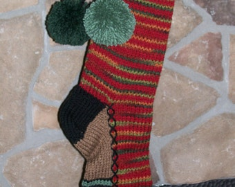 Old Fashioned Hand Knit Fall Camo Ranch Red Horizontal Striped Fir Tree border Christmas Stocking