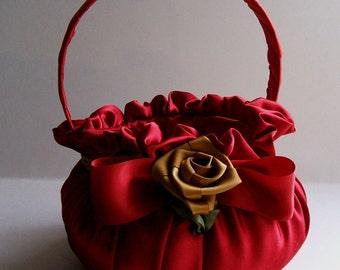 Handmade RED Satin Basket For Gift Basket,Wedding, Flowergirl,Vanity or Bath Organizer