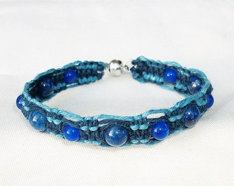 Gemstone Lapis Lazuli Sky Blue with Magnetic Clasp Hemp Bracelet - Gemstone Hemp Jewelry