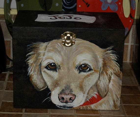 Custom Wooden PET URN for dogs and cats  med/large with latch portrait