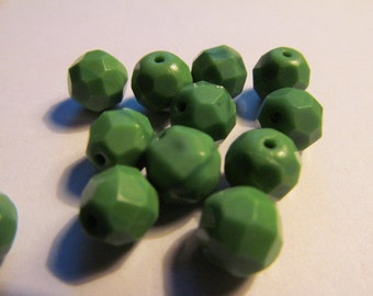 Vintage Glass Beads (12) Fern Green Faceted Beads