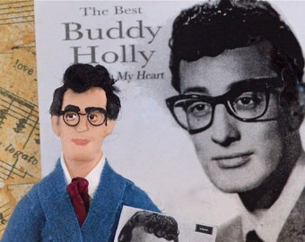 Buddy Holly Doll Miniature 1950's Era Art Character