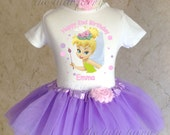 Tinkerbell Purple Pink Pixie Fairy first 1st 2nd 3rd 4th 5th 6th 7th Birthday Personalized Custom Name Age Shirt & Tutu Set Girl Outfit